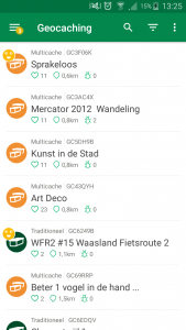 Geocaching app lijstoverzicht