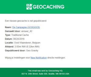 Nieuwe Geocache melding