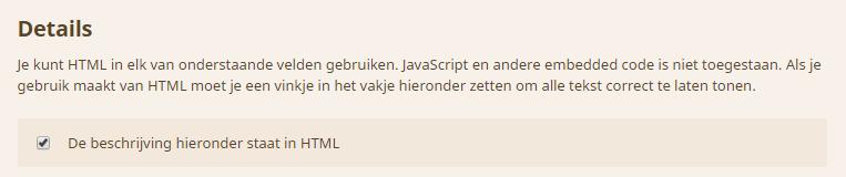 Beschrijving in HTML aanvinken