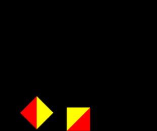 Semafooralfabet letter A cijfer 1