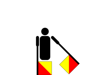 Semafooralfabet letter G cijfer 7