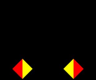 Semafooralfabet letter N