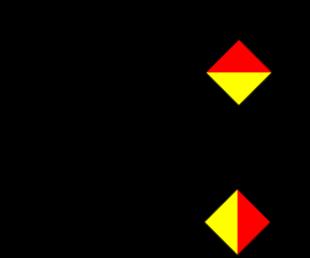 Semafooralfabet letter X