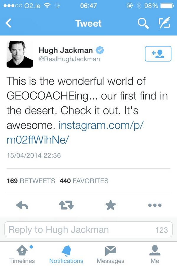 Hugh Jacman Geocaching twitter