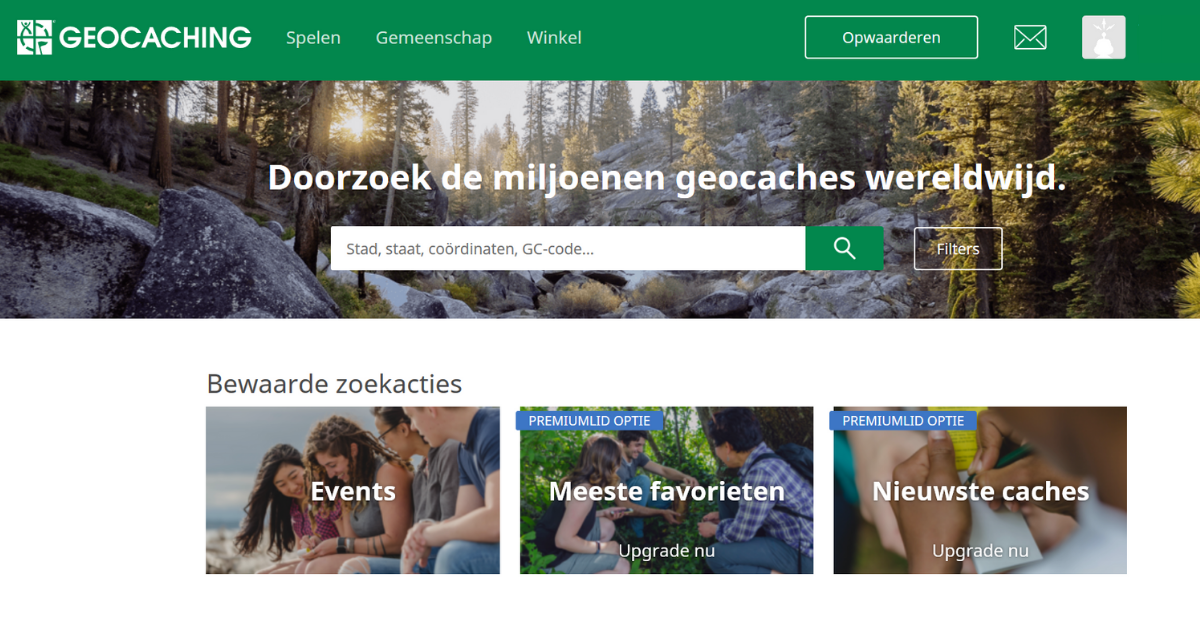 Geocaching.com overzichtspagina