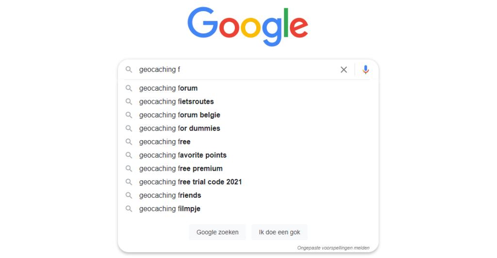 Geocaching ABC van Google - F